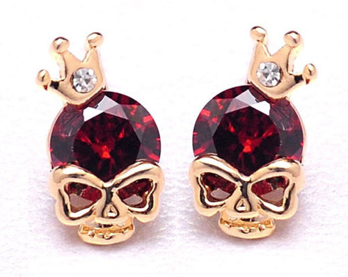 18K Rose Gold Plated Red Skull Earrings With Crown Jewelry- Loren's Fashion Boutique