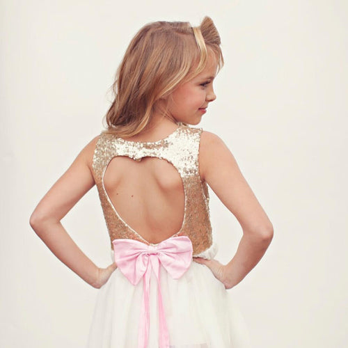 Gold Sequins Light Pink Bow Tulle Tutu Dress - Ready To Ship Available - Katy's Princess Boutique