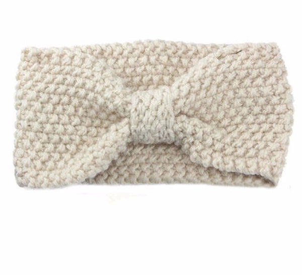 Knitted Bowknot Turban Head Wrap- White - Katy's Princess Boutique