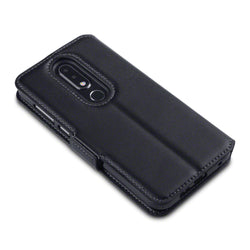 Qubits Nokia 6.1 Plus Low Profile Genuine Leather Wallet Case - Black