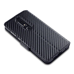 Qubits Nokia 6.1 Plus Low Profile PU Leather Wallet Case - Black Carbon Fibre Texture