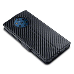 Qubits Nokia 9 PureView Low Profile PU Leather  Wallet Case - Black Carbon Fibre