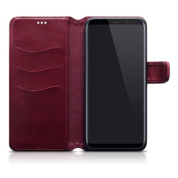 Qubits Samsung Galaxy S8 Plus PU Leather Wallet Case with Stand Function - Red White Stitching