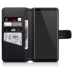 Qubits Samsung Galaxy S9 Plus Real Leather Wallet Case  - Black