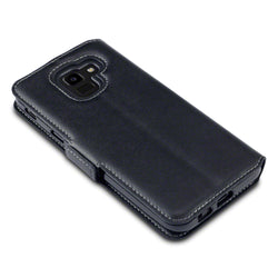 Qubits Samsung Galaxy J6 2018 Low Profile Genuine Leather Wallet Case - Black (CLEARANCE)