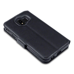 Qubits Samsung Galaxy J4 2018 Low Profile Genuine Leather Wallet Case - Black (CLEARANCE)