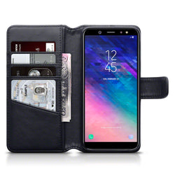 Qubits Samsung Galaxy A6 2018 Real Leather Wallet Case - Black