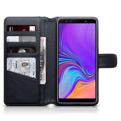 Qubits Samsung Galaxy A7 2018 Real Leather Wallet Case - Black