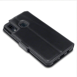 Qubits Samsung Galaxy A30 Low Profile Genuine Leather Wallet Case - Black (CLEARANCE)