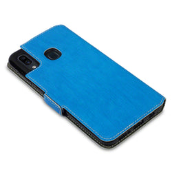 Qubits Samsung Galaxy A30 Low Profile PU Leather Wallet Case - Light Blue (CLEARANCE)