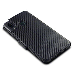 Qubits Samsung Galaxy A30 Low Profile PU Leather Wallet Case - Black Carbon Texture (CLEARANCE)