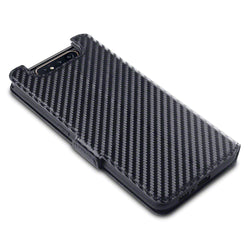 Qubits Samsung Galaxy A80 Low Profile PU Leather Wallet Case - Black Carbon Texture