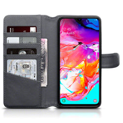 Qubits Samsung Galaxy A70 Real Leather Wallet Case - Grey
