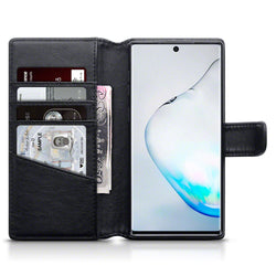 Qubits Samsung Galaxy Note 10 Real Leather Wallet Case - Black