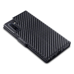 Qubits Samsung Galaxy Note 10 Low Profile PU Leather Wallet Case - Black Carbon Fibre Texture