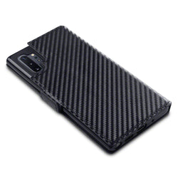 Qubits Samsung Galaxy Note 10 Plus Low Profile PU Leather Wallet Case - Black Carbon Fibre Texture