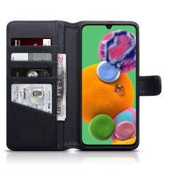 Qubits Samsung Galaxy A90 5G Real Leather Wallet Case - Black