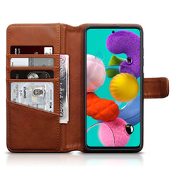 Qubits Samsung Galaxy A51 Real Leather Wallet Case - Cognac