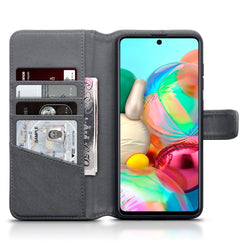 Qubits Samsung Galaxy A71 Real Leather Wallet Case - Grey