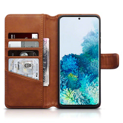 Qubits Samsung Galaxy S20 Plus Real Leather Wallet Case - Cognac