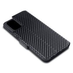 Qubits Samsung Galaxy S20 Plus Low Profile PU Leather Wallet Case - Black Carbon Fibre Texture
