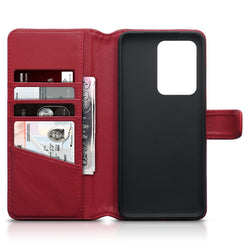 Qubits Samsung Galaxy S20 Ultra Real Leather Wallet Case - Red