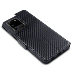 Qubits Samsung Galaxy S20 Ultra Low Profile PU Leather Wallet Case - Black Carbon Fibre Texture