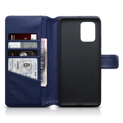 Qubits Samsung Galaxy A91 / S10 Lite Real Leather Wallet Case - Blue