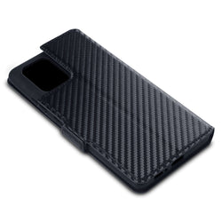 Qubits Samsung Galaxy A91 / S10 Lite Low Profile PU Leather Wallet Case - Black Carbon Fibre Texture