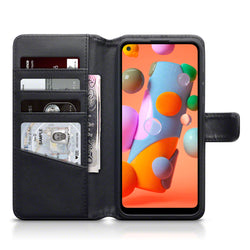 Qubits Samsung Galaxy A11 Real Leather Wallet Case - Black