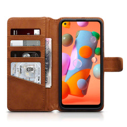 Qubits Samsung Galaxy A11 Real Leather Wallet Case - Cognac