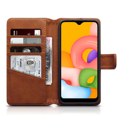 Qubits Samsung Galaxy A01 Real Leather Wallet Case - Cognac