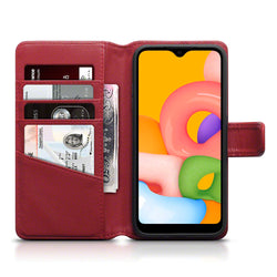 Qubits Samsung Galaxy A01 Real Leather Wallet Case - Red