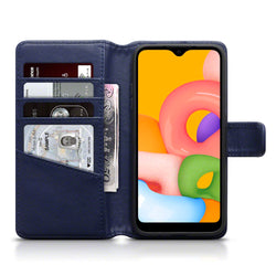 Qubits Samsung Galaxy A01 Real Leather Wallet Case - Blue