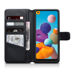 Qubits Samsung Galaxy A21 Real Leather Wallet Case - Black