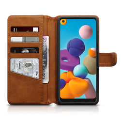 Qubits Samsung Galaxy A21 Real Leather Wallet Case - Cognac