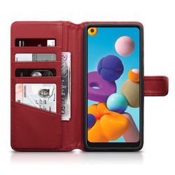 Qubits Samsung Galaxy A21 Real Leather Wallet Case - Red