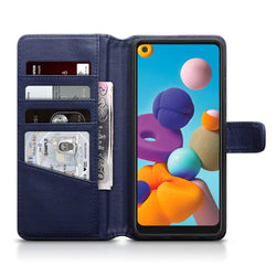 Qubits Samsung Galaxy A21 Real Leather Wallet Case - Blue