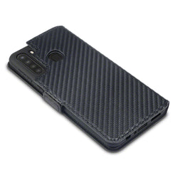 Qubits Samsung Galaxy A21 Low Profile PU Leather Wallet Case - Black Carbon Fibre Texture