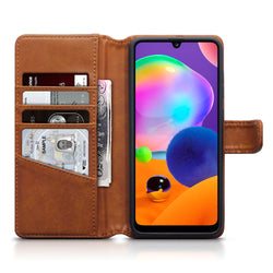 Qubits Samsung Galaxy A31 Real Leather Wallet Case - Cognac