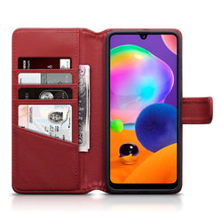 Qubits Samsung Galaxy A31 Real Leather Wallet Case - Red
