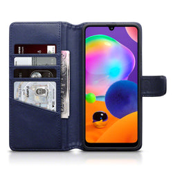 Qubits Samsung Galaxy A31 Real Leather Wallet Case - Blue