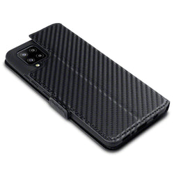 Qubits Samsung Galaxy A42 5G Low Profile PU Leather Wallet Case - Black Carbon Texture