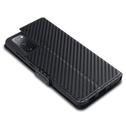 Qubits Samsung Galaxy S20 FE Low Profile PU Leather Wallet Case - Black Carbon Texture