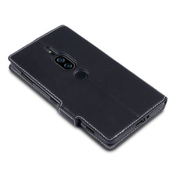 Qubits Sony Xperia XZ2 Premium Low Profile PU Leather Wallet Case - Black (CLEARANCE)