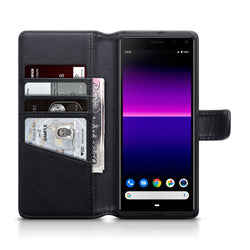 Qubits Sony Xperia 20 Real Leather Wallet Case - Black