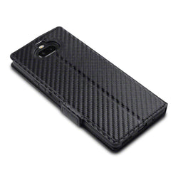 Qubits Sony Xperia 20 Low Profile PU Leather Wallet Case - Black Carbon Fibre Texture (CLEARANCE)