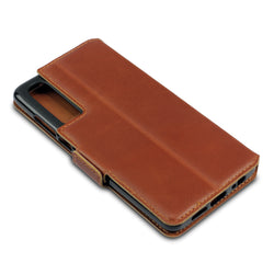 Qubits Huawei P30 Low Profile Genuine Leather Wallet Case - Cognac
