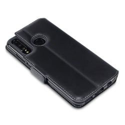 Qubits Huawei P30 Lite Low Profile Genuine Leather Wallet Case - Black