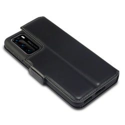 Qubits Huawei P40 Low Profile Genuine Leather Stand Wallet - Black
